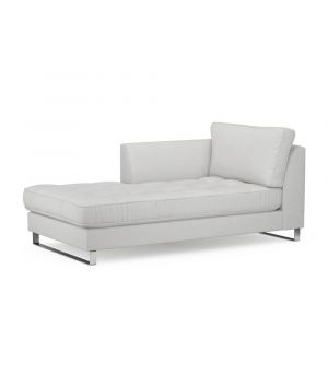 West Houston Chaise Longue Left, Washed Cotton, AshGrey
