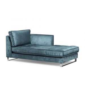 West Houston Chaise Longue Right, Velvet, Petrol