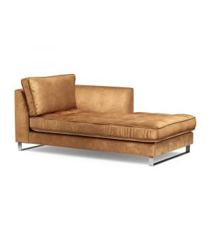 West Houston Chaise Longue Right, Velvet, Cognac