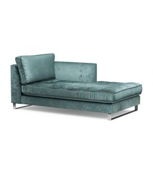 West Houston Chaise Longue Right, Velvet, MinBlue
