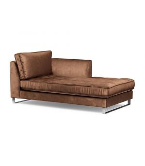 West Houston Chaise Longue Right, Velvet, Chocolate