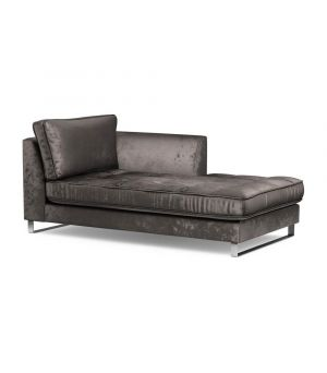 West Houston Chaise Longue Right, Velvet, GriGrey