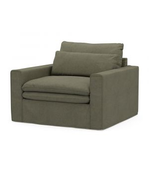 Continental Love Seat, Oxford Weave, FrGreen