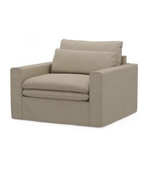 Continental Love Seat, Oxford Weave, FlFlax