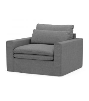 Continental Love Seat, Washed Cotton, Grey