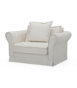 Carlton Love Seat, Oxford Weave, White