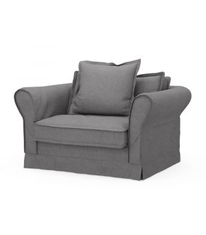 Carlton Love Seat, Oxford Weave, Steel Grey