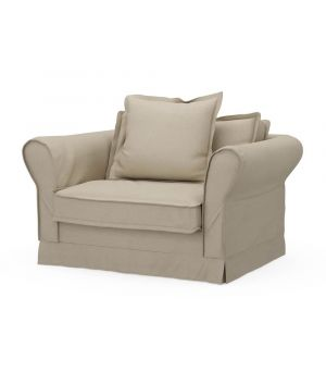 Carlton Love Seat, Oxford Weave, FlanFlax