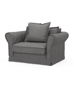 Carlton Love Seat, Oxford Weave, Charcoal