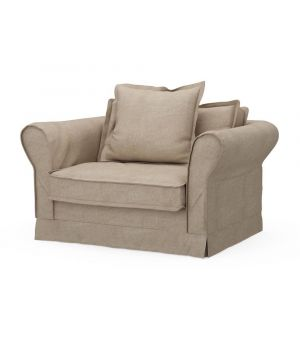 Carlton Love Seat, Washed Cotton, Natural
