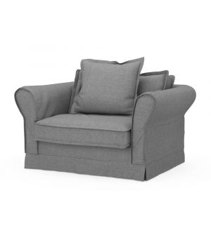 Carlton Love Seat, Washed Cotton, Grey