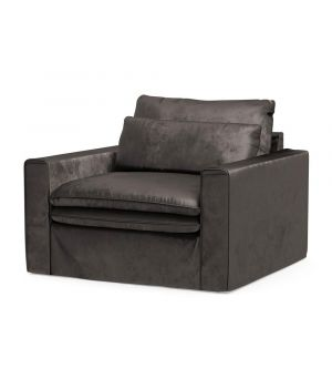 Continental Love Seat, Velvet, GrGrey