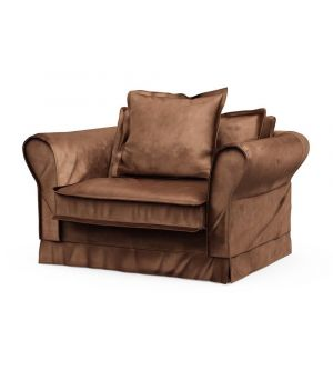 Carlton Love Seat, Velvet, Chocolate