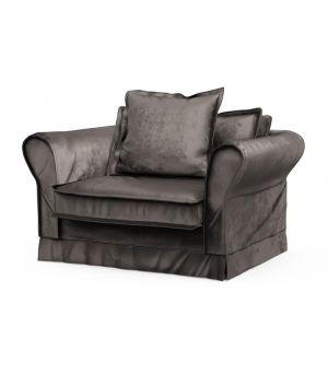 Carlton Love Seat, Velvet, GriGrey