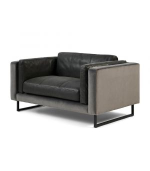 Biltmore Love Seat, Leather, Charcoal