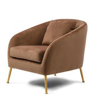 Montmartre Armchair Gold Leg, Velvet, Gold Mink