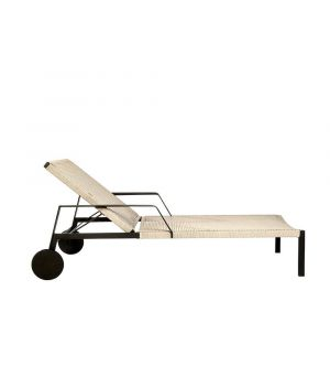 Lounger, adjustable Nodi wengé + linen