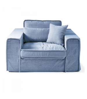 Metropolis Love Seat, Washed Cotton, Ice Blue
